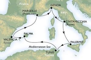 Last Minute Croaziera pe Mediterana de Vest Varianta Itinerariu 1